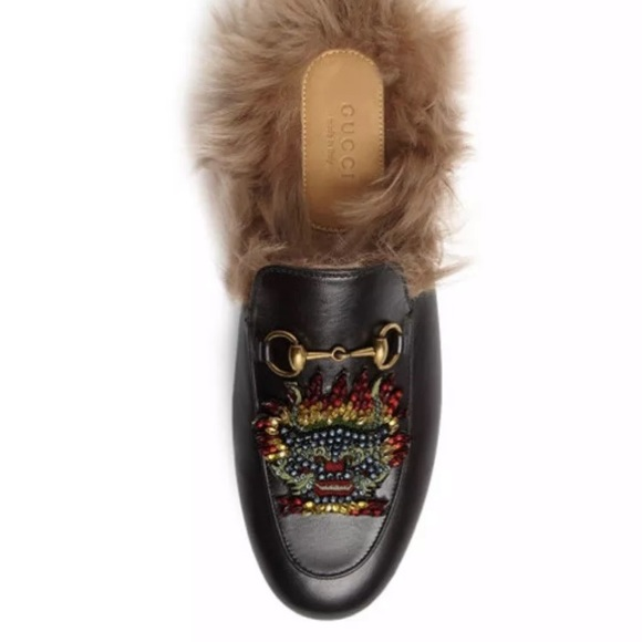 436b5efe6 Gucci Shoes | Princeton Fur Leather Dragon Mules Nwb 40 | Poshmark
